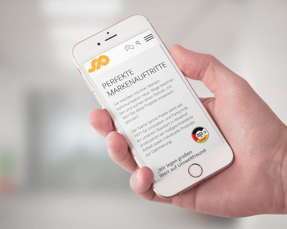 Bildschirm Senne Plastik Website mobile Ansicht