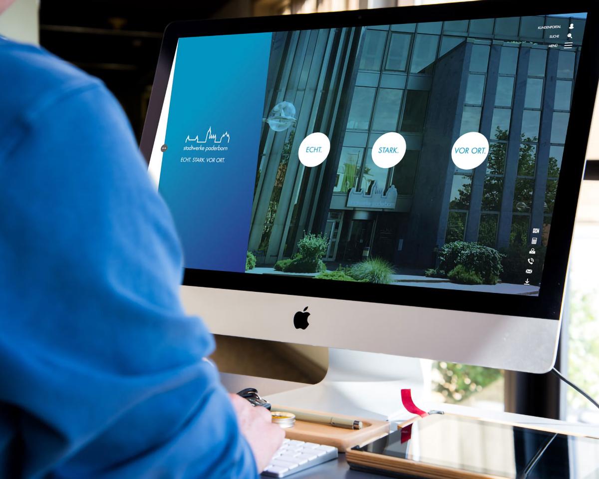 Website Stadtwerke Paderborn auf PC