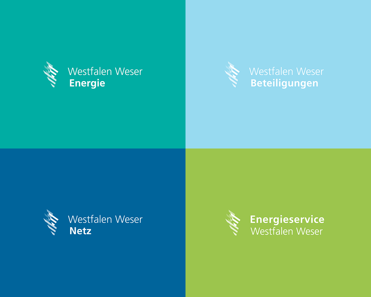Farbliche Logo 4 Kacheln Aufteilung